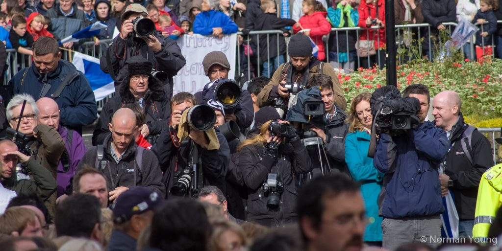 Photo of the press scrum awaiting Andy Murray's arrival in Dunblane at his homecoming walk-about. Photo by Norman Young