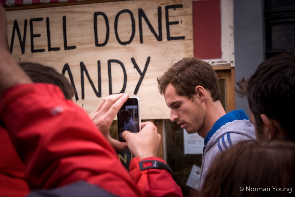 Photo of Andy Murray at his homecoming to Dunblane following his Olympic success and US open Grand Slam victory. Photo by Norman Young
