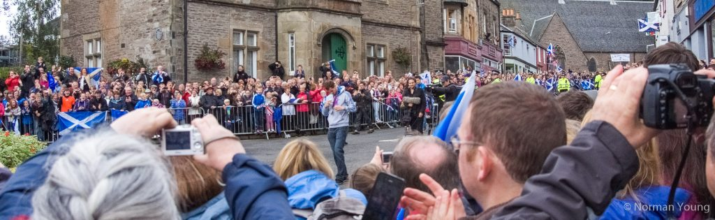 Photo of Andy Murray displaying his medals in Dunblane at his Homecoming walk-about. Photo by Norman Young