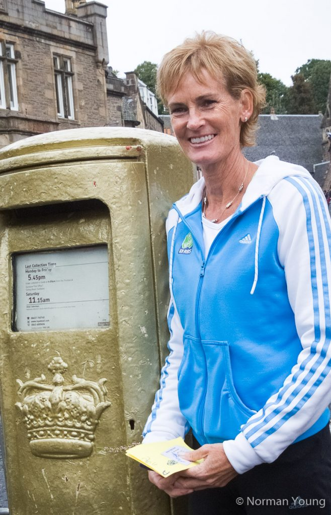 Photo of Judy Murray at Andy's golden post box in Dunblane by Norman Young